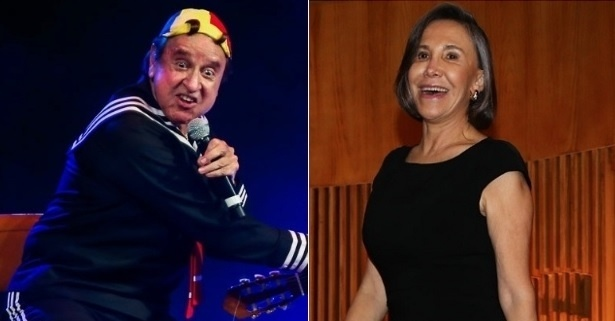 """Carlos Villagrán (à esquerda) e Florinda Meza, do elenco de """"Chaves"""""""