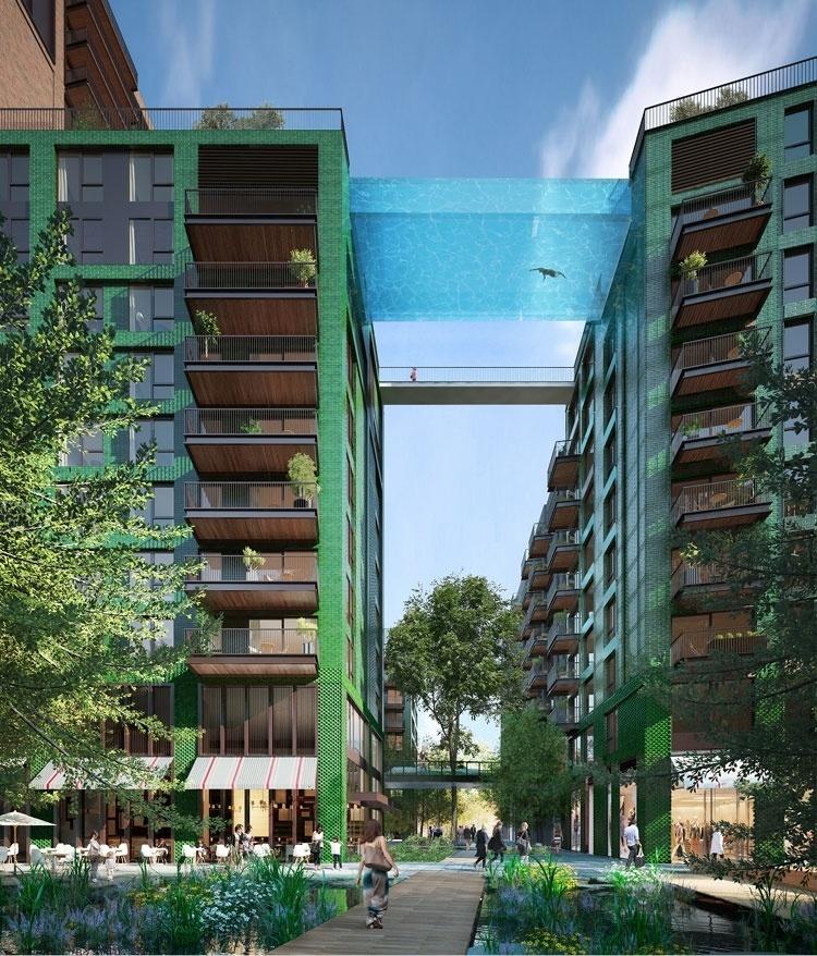Projetada entre dois prédios, na altura do décimo andar, esta piscina permite ao morador nadar sobre uma rua de Londres. O condomínio Embassy Gardens, situado na margem sul do rio Tâmisa, foi desenvolvido pelas empresas EcoWorld e Ballymore em parceria com o escritório de arquitetura Arup Associates. Cada apartamento está sendo vendido a partir de 602 mil libras, o equivalente a quase R$ 3,5 milhões (cotação em 10.02.2016)