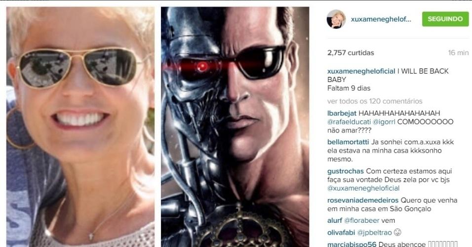 8.ago.2015 - Parece que Xuxa está ansiosa para estrear na Record. Isso porque, na madrugada deste sábado, a apresentadora fez uma montagem no Instagram brincando com a sua volta à televisão.