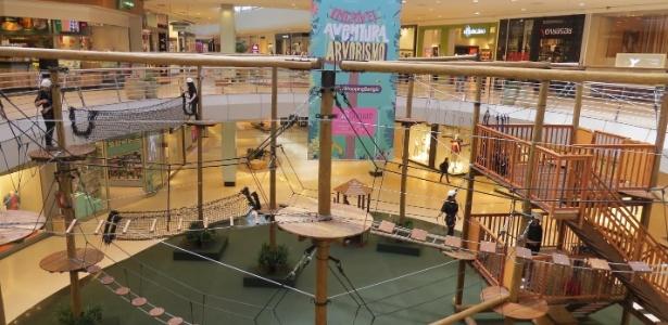 Circuito oferece aventura em arvorismo em shopping de Curitiba