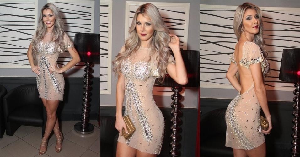 20.jun.2015 - A ex-BBB Tatiele Polyana surpreendeu ao usar um vestido transparente no coquetel de lançamento de seu ensaio sensual para a revista