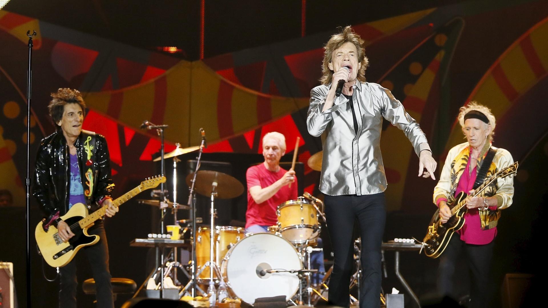 03.fev.2016 - Os Rolling Stones se apresentam no Estádio Nacional, no Chile, no primeiro show da turnê Olé, na América Latina