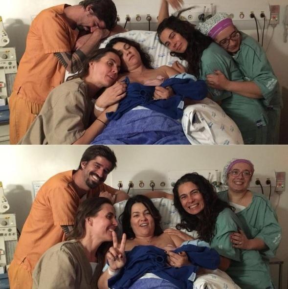Suzana Alves comemora o nascimento do primeiro filho, Benjamin. Na foto, ela aparece na maternidade após dar à luz