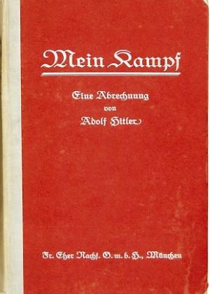 """Capa da primeira edição de """"Mein Kampf"""", assinada por Adolf Hitler"""