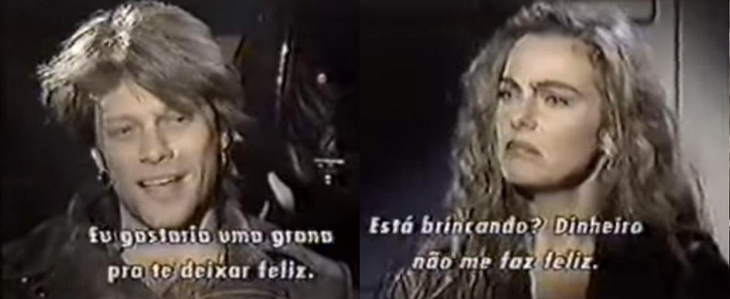 Bruna Lombardi se incomoda com Bon Jovi durante entrevista feita em 1993