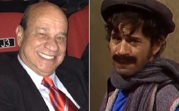 """O ator mexicano Ricardo de Pascual atualmente (à esquerda) e em 1976, quando interpretou Sr. Furtado em """"Chaves"""""""