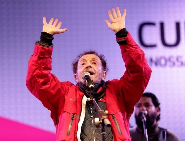 21.jun.2015 - Tom Zé se apresentou na manhã deste domingo na Virada Cultural 2015, no palco Barão de Limeira, na região central de São Paulo