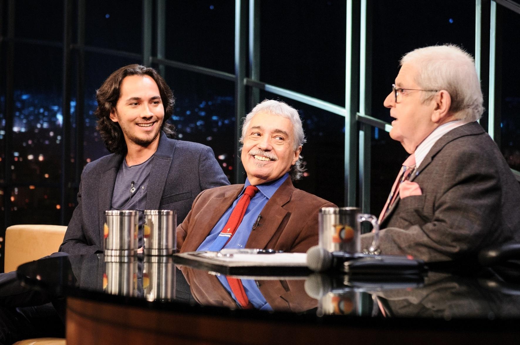17.jun.2015 - Jô Soares entrevista Gabriel Falcão e Pedro Paulo Rangel