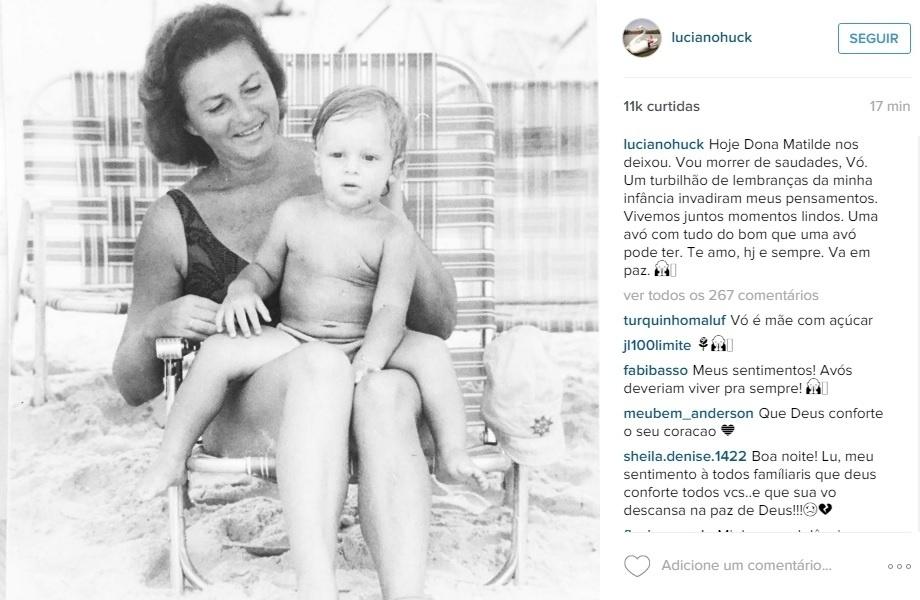 20.out.2015 - Luciano Huck lamentou a morte da avó, Matilde, em seu perfil no Instagram: