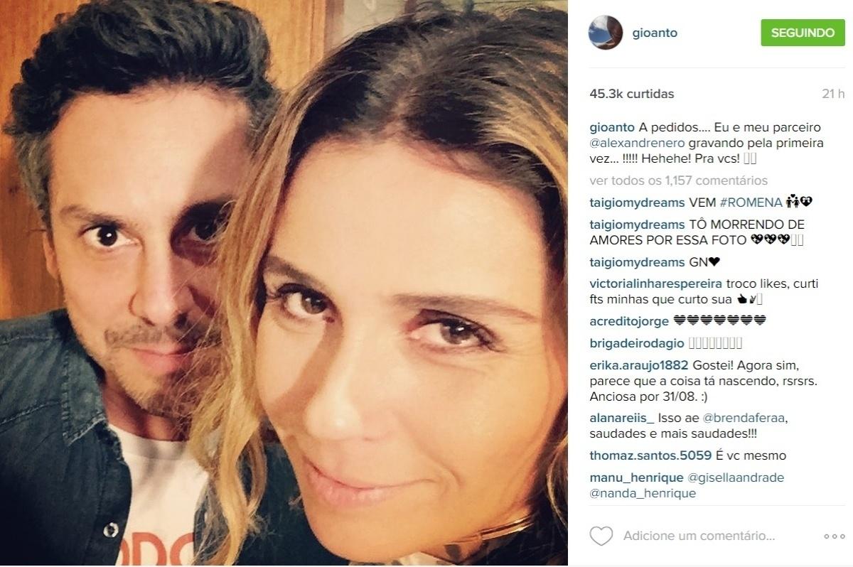 7.jul.2015 - Na noite de domingo, Giovanna Antonelli postou em seu perfil no Instagram uma foto da primeira gravação com Alexandre Nero, com quem contracena em