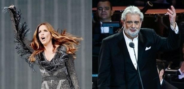 Ivete Sangalo e Plácido Domingo, que estarão em show na Amazônia