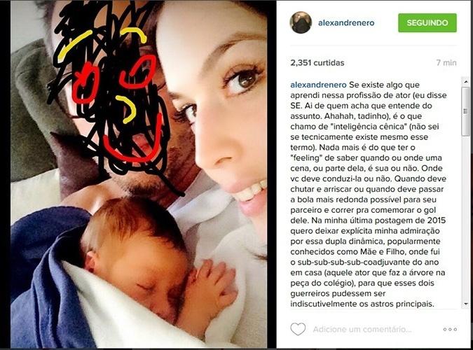 31.dez.2015 - Alexandre Nero mostra o filho e faz homenagem a ele e à mulher, Karen Brusttolin