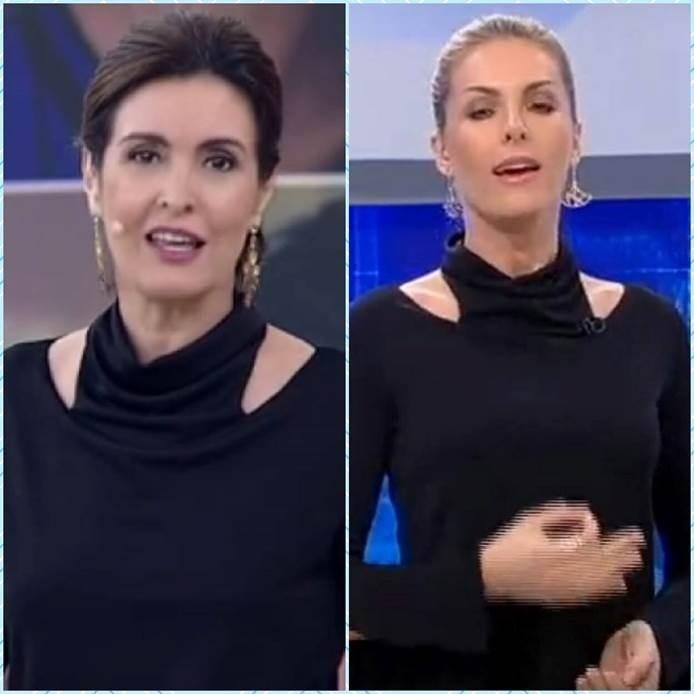 As apresentadoras Fatima Bernardes e Ana Hickmann usaram roupas parecidas no