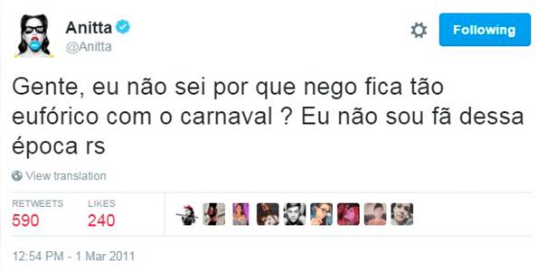 Anitta, em 2011, não era lá muito fã de Carnaval