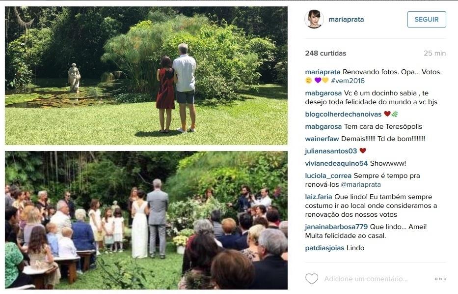 26.dez.2015 - Casados desde maio deste ano, Pedro Bial e Maria Prata tiram nova foto no local em que trocaram alianças