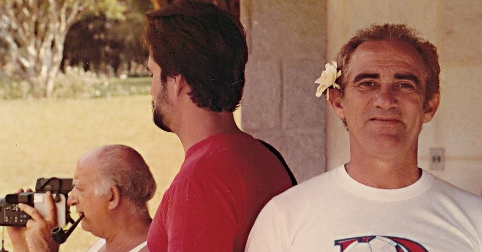 Renato Aragão posa para foto na década de 1980, quando Os Trapalhões lançavam quase um filme por ano