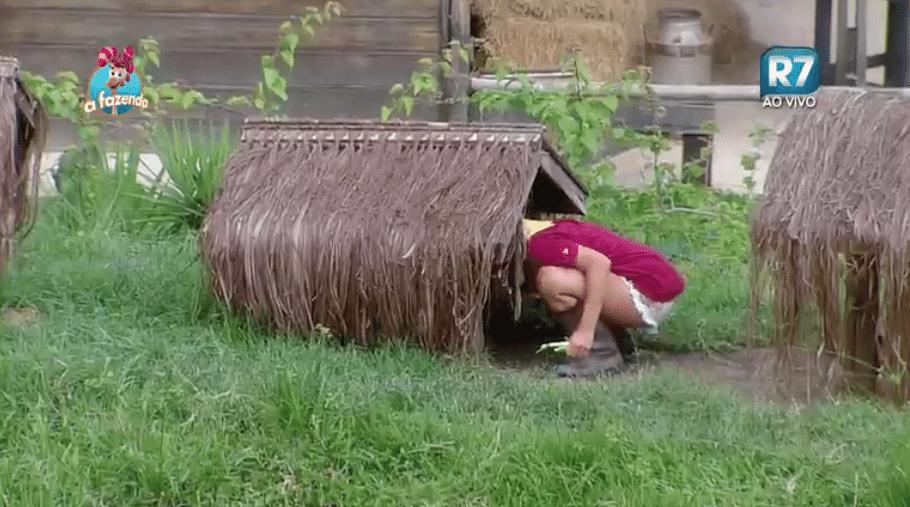 17.nov.2015 - Sem nojo, Ana Paula coloca a mão na água suja dos animais