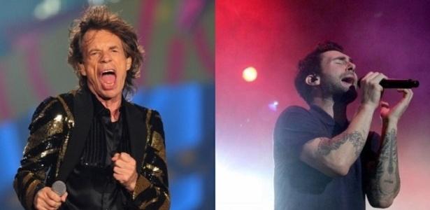 Mick Jagger e Adam Levine em ação: shows energéticos e em grandes arenas