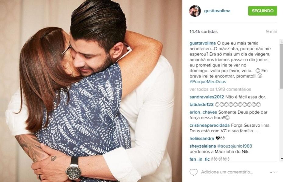 19.dez.2015 - Gusttavo Lima publica mensagem de despedida para a mãe, Sebastiana, que morreu neste sábado