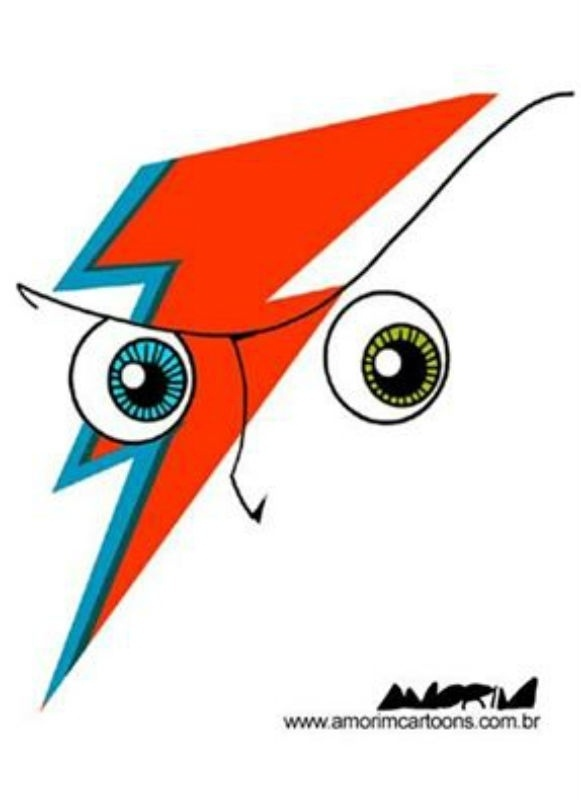 Diversos cartunistas brasileiros homenagearam o cantor David Bowie após a sua morte, neste domingo (10). Na imagem, a homenagem feita por Amorim