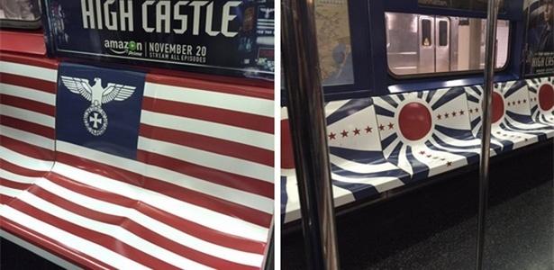 Internauta mostra imagens de campanha da HBO no metrô de Nova York, usando símbolo nazista e a bandeira do Japão imperial
