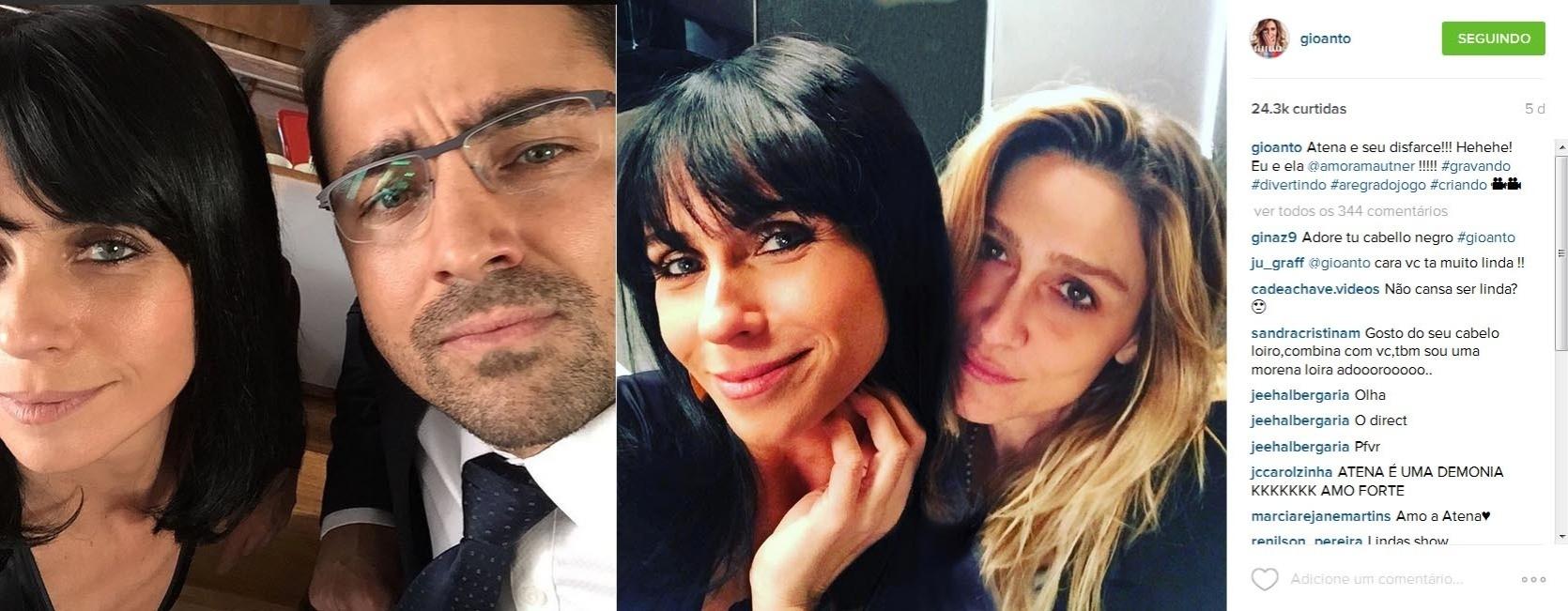 Giovanna Antonelli, Ricardo Pereira e a diretora Amora Mautner nos bastidores de