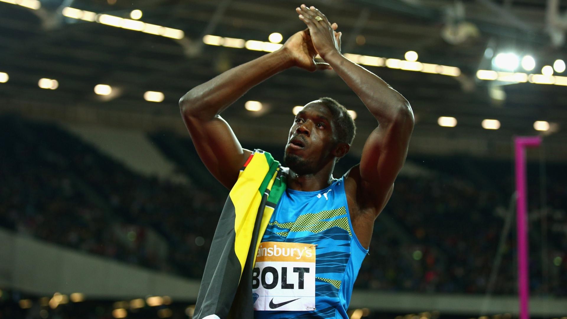 Bolt comemora após vitória nos 100m em Londres