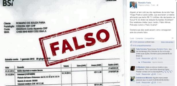 Senador negou veracidade de extrato publicado por revista, que se desculpou