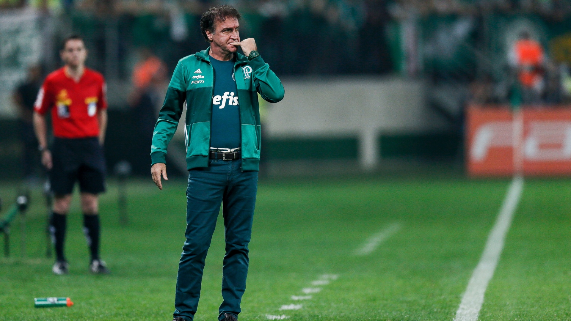 Cuca roe unha durante a partida entre Palmeiras e Santos