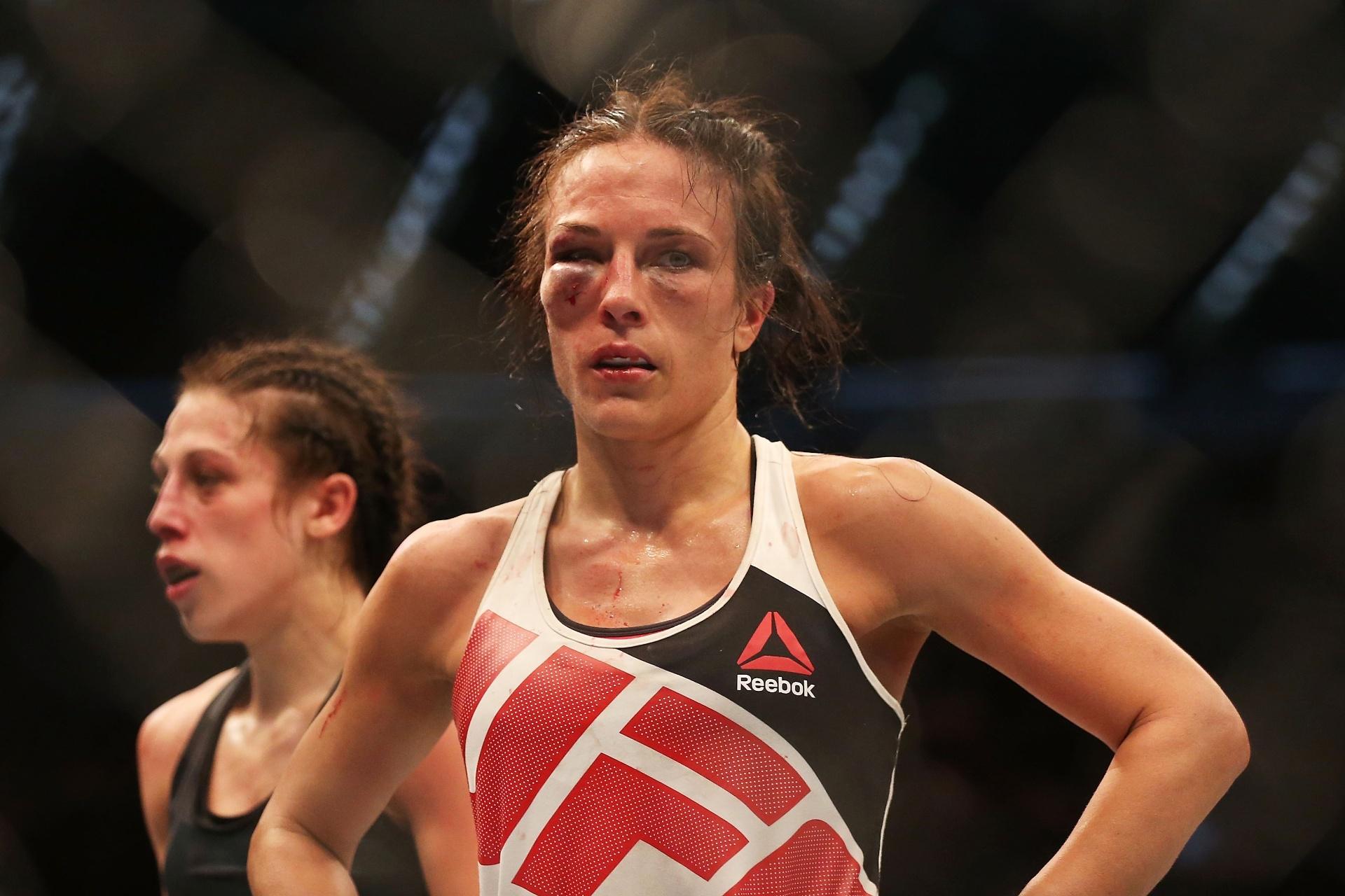 Valerie Letorneau ficou com o olho bem machucado após disputa de cinturão