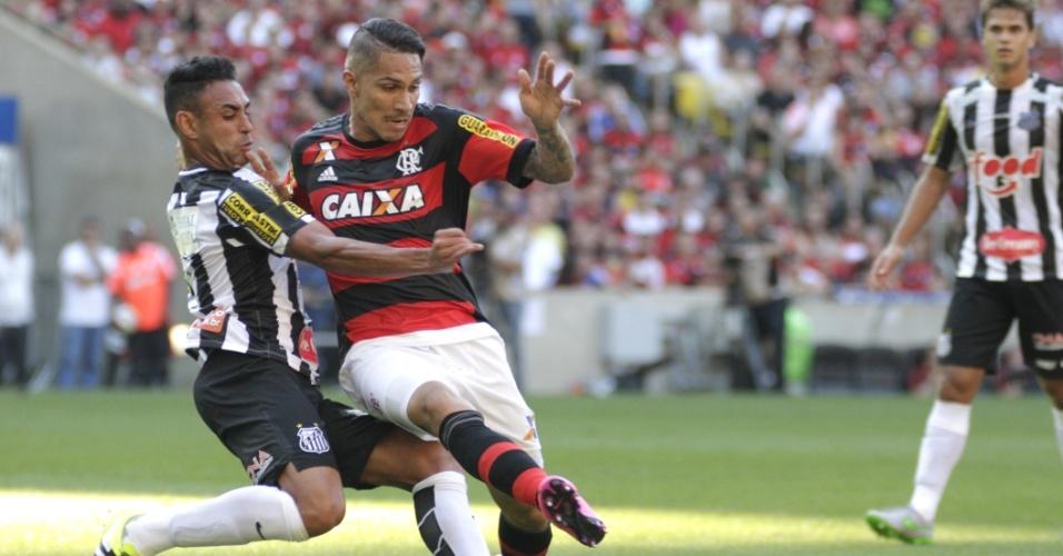 Werley desarma Guerrero na partida entre Flamengo e Santos