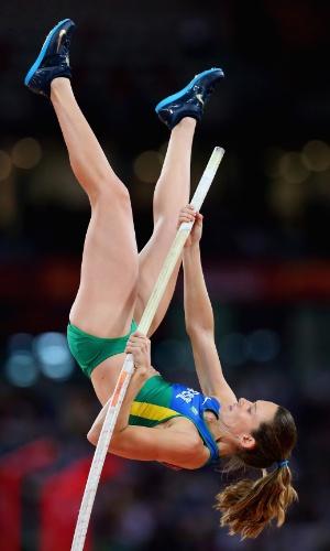 Fabiana Murer buscava o bicampeonato mundial. A brasileira faturou a medalha de prata no salto com vara em acirrada disputa com a cubana Yarisley Silva, que levou o ouro
