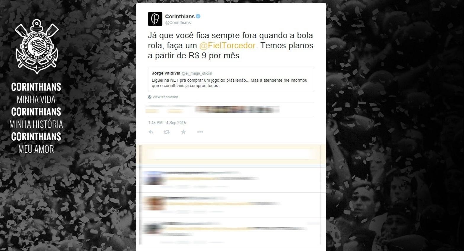 Corinthians responde à provocação de Valdivia no Twitter