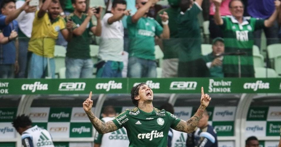 Victor Ramos comemora após marcar o segundo gol do Palmeiras contra o São Paulo (28/06)