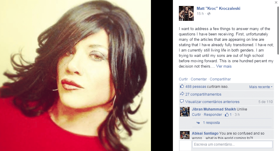 """Matt """"Kroc"""" Kroczaleski foi campeão de fisiculturismo, mas sempre conviveu com a dificuldade de se aceitar em um corpo masculino. Nesta semana, ele - ou melhor, ela - revelou sua realidade e se apresentou como mulher: Janae"""