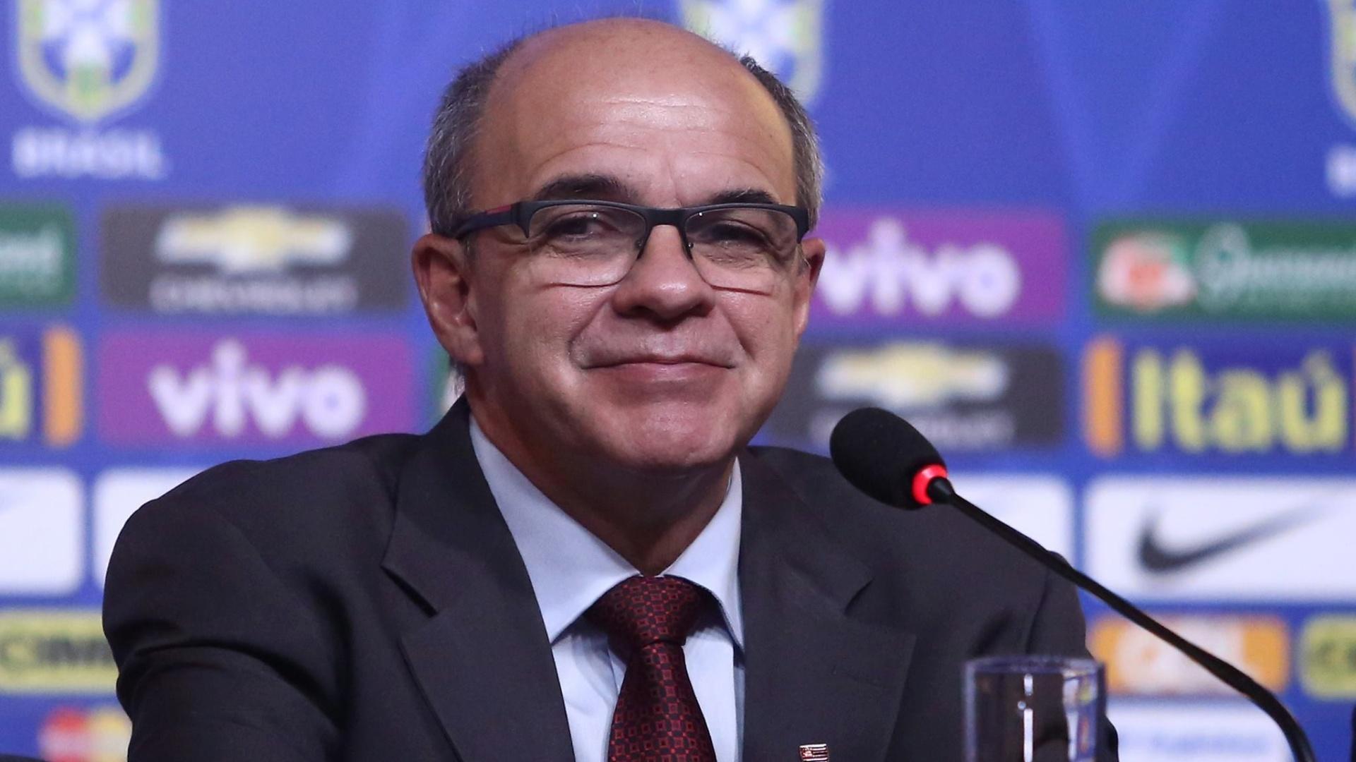 Presidente do Flamengo, Eduardo Bandeira de Mello dá entrevista na CBF. Ele será chefe de delegação durante a Copa América nos Estados Unidos