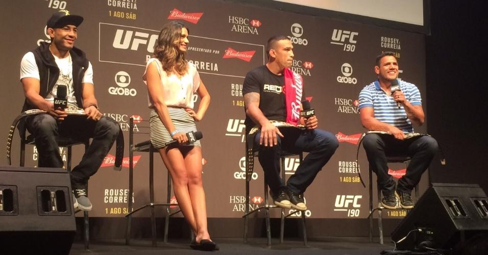 José Aldo, Fabrício Werdum e Rafael dos Anjos durante o Q&A do UFC 190 no Rio de Janeiro