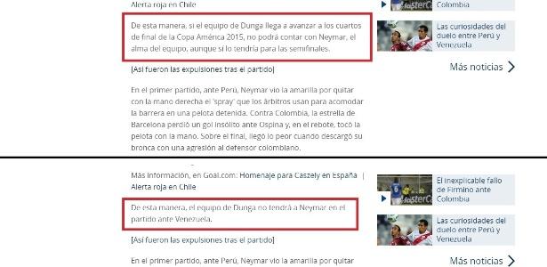 Acima, primeira versão publicada pelo site da Conmebol, dando dois jogos de suspensão para Neymar. Abaixo, texto modificado minutos depois que afirma que o brasileiro está previamente suspenso por apenas um jogo