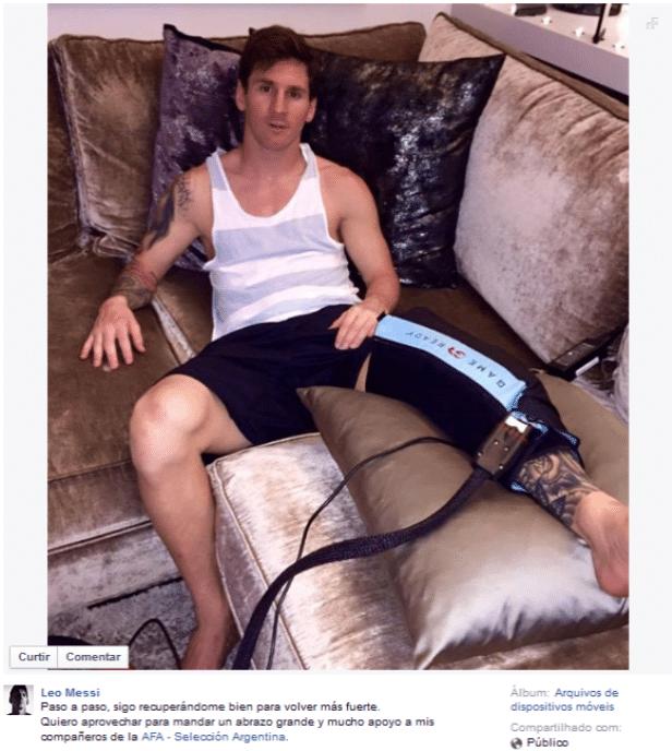 Lionel Messi em recuperação de lesão