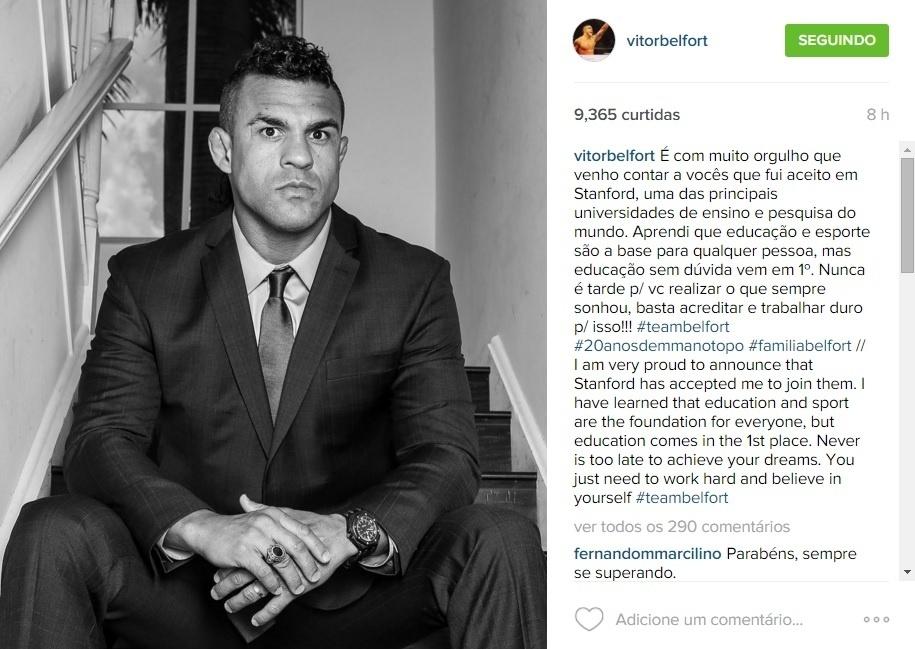 Vitor Belfort vai estudar em universidade dos EUA