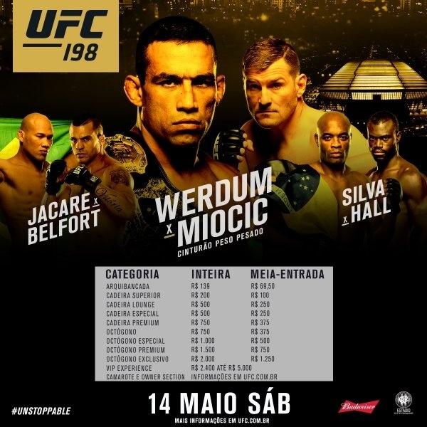 UFC divulgou os preços dos ingressos da edição que será realizada em Curitiba em maio