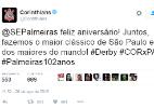 Corinthians parabeniza Palmeiras por aniversário: