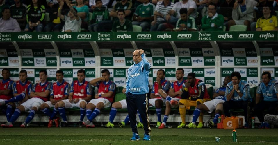 Marcelo Oliveira orienta o time do Palmeiras contra o Cruzeiro