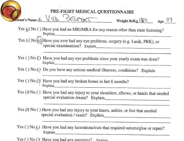 Questionário médico de Vitor Belfort para a luta contra Anderson Silva em 2011