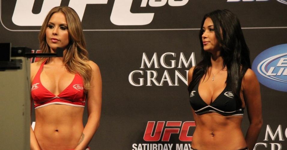 Ring girls Brittney Palmer e Arianny Celeste exibem boa forma na pesagem do UFC 160