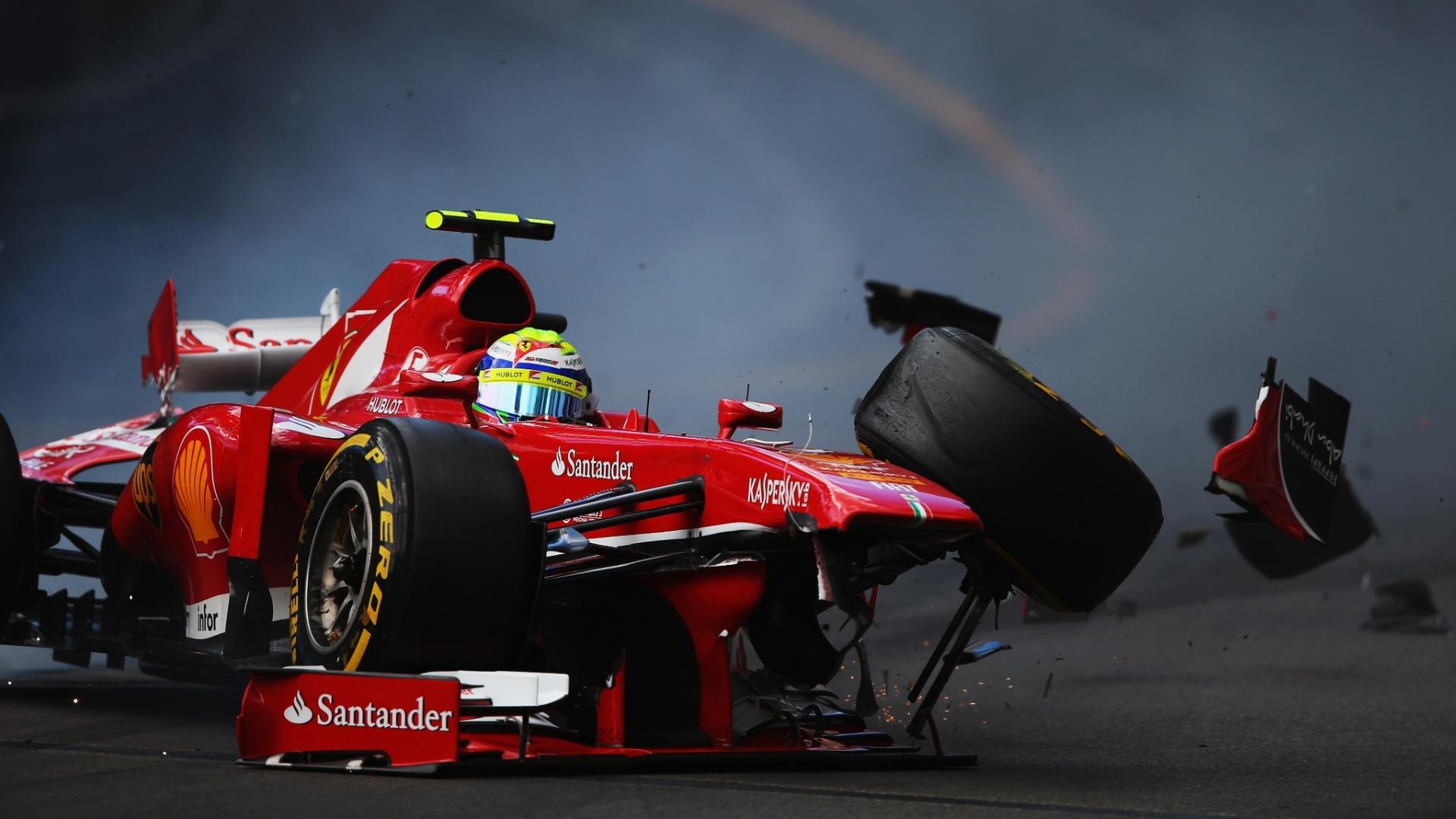 25.mai.2013 - Felipe Massa sofre forte acidente durante o terceiro treino livre para o GP de Mônaco
