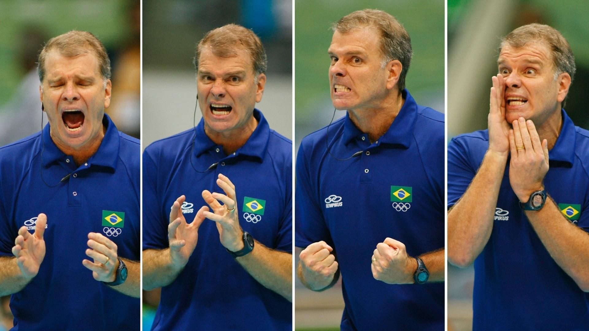 25.07.2007 - Sequência de fotos mostra reações de Bernardinho durante o jogo da seleção brasileira masculina de vôlei contra Cuba pelos Jogos Pan-Americanos do Rio de Janeiro
