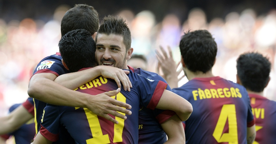 Logo aos 3 minutos, Villa abriu o placar para o Barcelona na goleada de 4 a 1 sobre o Málaga