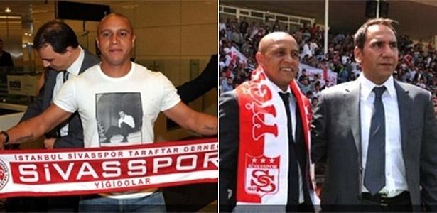 03.jun.2013 - Roberto Carlos chega ao aeroporto de Istambul para assinar com o Sivasspor (e) e depois posa com o presidente do clube, Majnum Otyakmaz