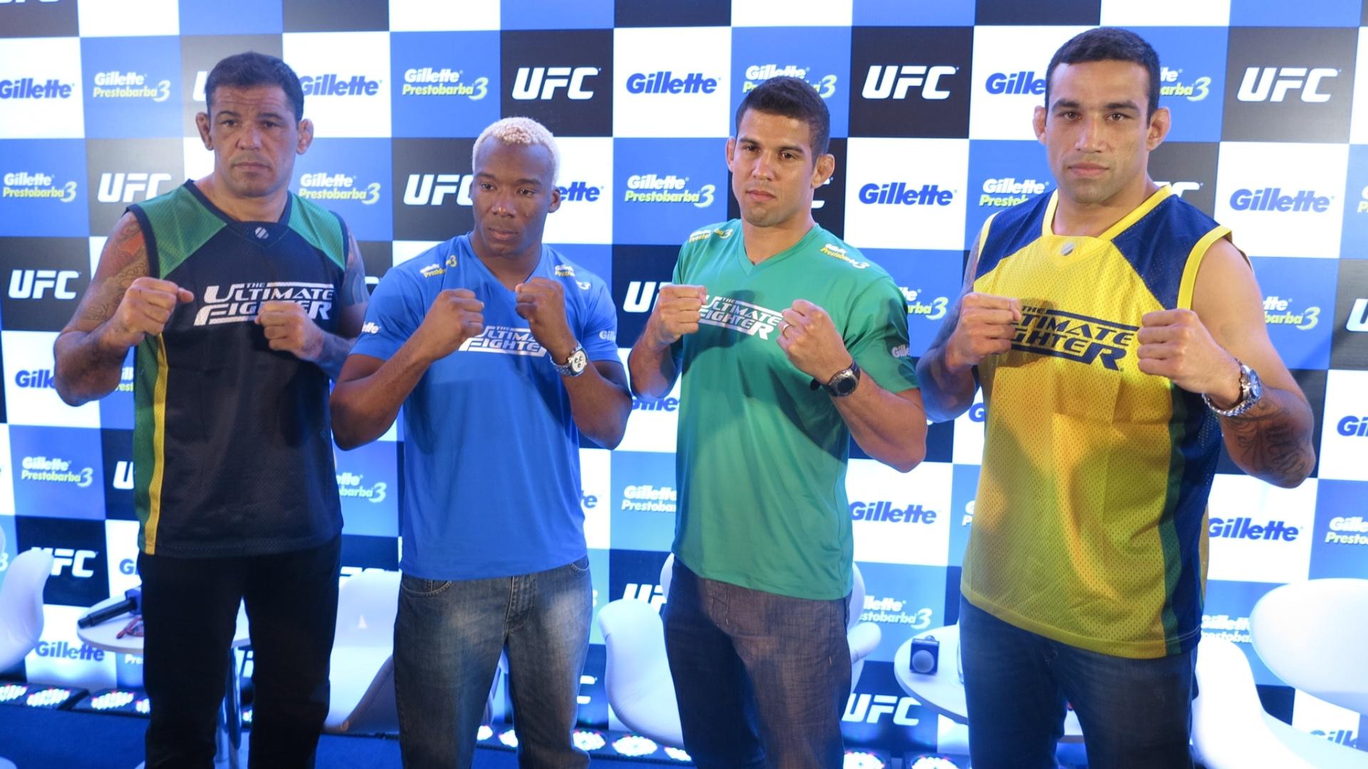 Rodrigo Minotauro, William Patolino, Léo Santos e Fabrício Werdum em evento do TUF Brasil 2